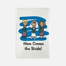 Here Comes the Bride Rectangle Magnet (100 pack)