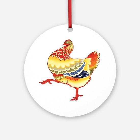 Vintage Chicken Ornament (Round)