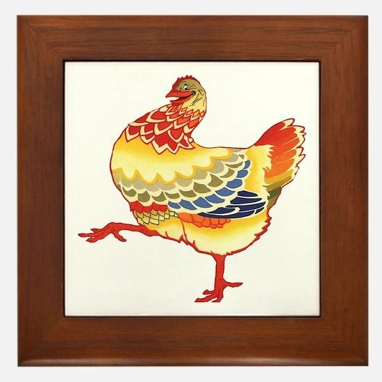 Vintage Chicken Framed Tile