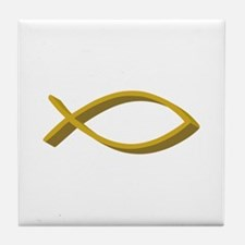 CHRISTIAN FISH FULL FRONT Tile Coaster