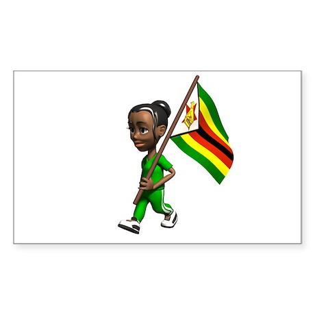 Zimbabwe Girl Rectangle Sticker
