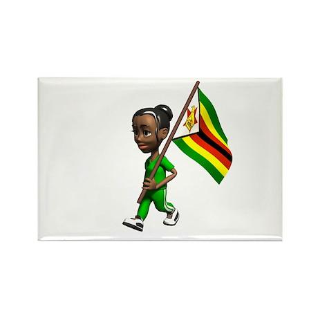Zimbabwe Girl Rectangle Magnet