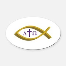 ALPHA AND OMEGA Oval Car Magnet