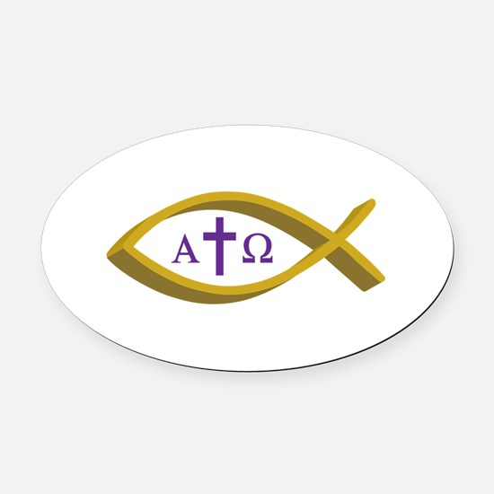 ALPHA AND OMEGA Oval Car Magnet