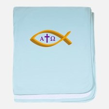 ALPHA AND OMEGA baby blanket