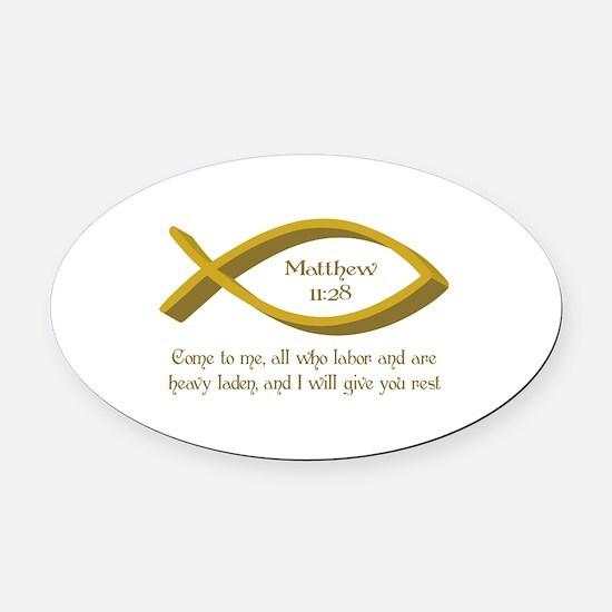 MATTHEW BIBLE VERSE Oval Car Magnet