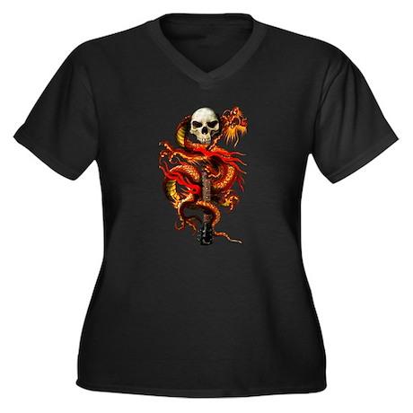 Red Dragon Skull Women's Plus Size V-Neck Dark T-S