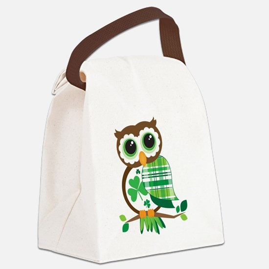 St Patrick's Day Owl Canvas Lunch Bag