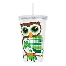 St Patrick's Day Owl Acrylic Double-wall Tumbler
