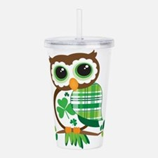 St Patrick's Day Owl Acrylic Double-wall Tumbler