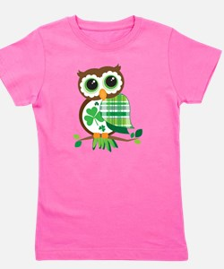 St Patrick's Day Owl Girl's Tee