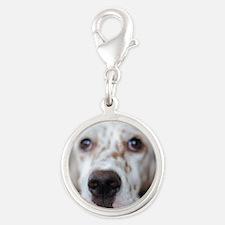Puppy dog Silver Round Charm