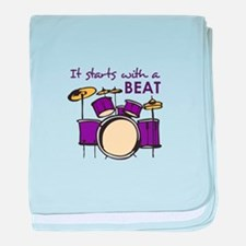 IT STARTS WITH A BEAT baby blanket