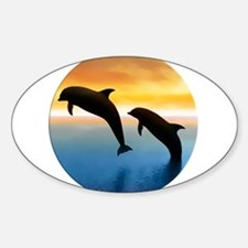 Leaping Dolphin at Sunset in Circle Decal