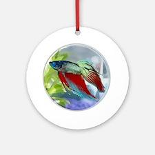 Colorful Betta Fish in a Bubble Ornament (Round)