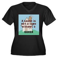 Boxer Home Women's Plus Size V-Neck Dark T-Shirt