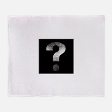 question mark? black and silver Throw Blanket