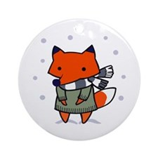 FOX IN WINTER Ornament (Round)