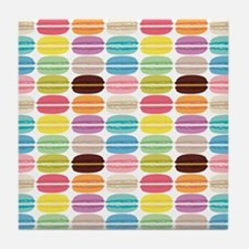 Rainbow French Macarons Pattern Tile Coaster