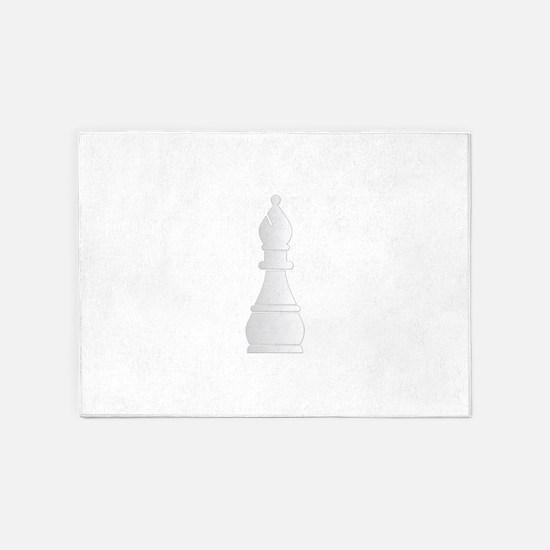 White bishop chess piece 5'x7'Area Rug