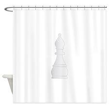 White bishop chess piece Shower Curtain