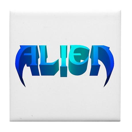 """Alien"" Blues Tile Coaster"