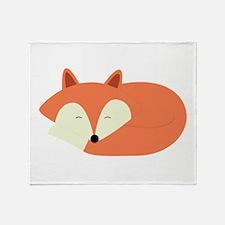 Sleepy Red Fox Throw Blanket