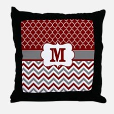 Red Gray Quatrefoil Chevron Monogram Throw Pillow