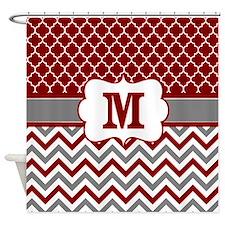 Red Gray Quatrefoil Chevron Monogram Shower Curtai