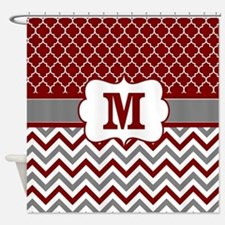 Red Gray Quatrefoil Chevron Monogram Shower Curtai