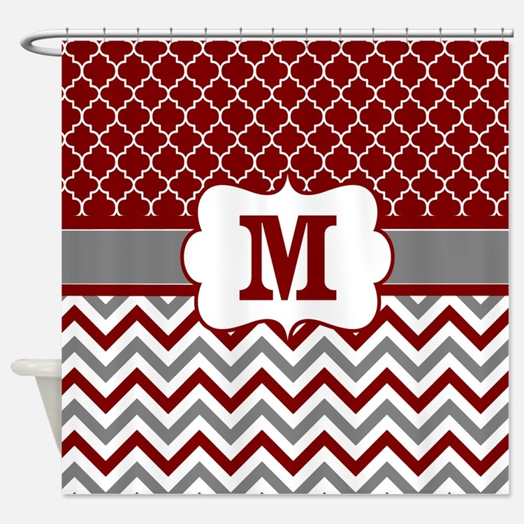 Burgundy And Gray Shower Curtains