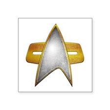 Distressed Starfleet Comm Badge Square Sticker 3""