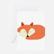 Sleepy Red Fox Greeting Cards