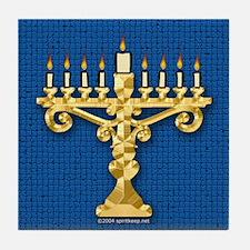 Menorah on Blue Keepsake Tile Coaster