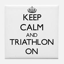 Keep calm and Triathlon ON Tile Coaster