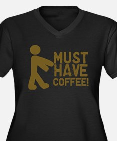 Must Have COFFEE! Zombie Women's Plus Size V-Neck