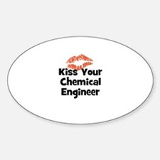 Kiss Your Chemical Engineer Oval Decal