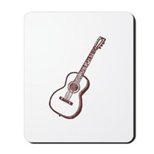 Antique Woodcut Brown Guitar Mousepad