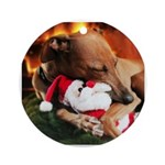 Italian Greyhound and Santa Ornament (Round)
