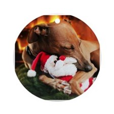 Italian Greyhound and Santa Ornament (Round)