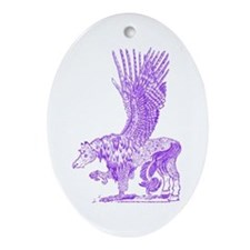 Hawkwing Hippogryph (purple) Oval Ornament