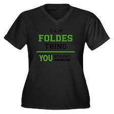 Unique Folding Women's Plus Size V-Neck Dark T-Shirt