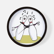 Singing Bowling Pins Wall Clock