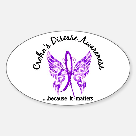 Crohn's Disease Butterfly 6.1 Sticker (Oval)