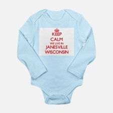 Keep calm we live in Janesville Wisconsi Body Suit