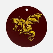 Gold Dragon on Maroon Ornament (Round)
