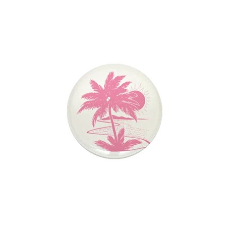 Pink Palm Beach Silhouette Mini Button (10 pack)