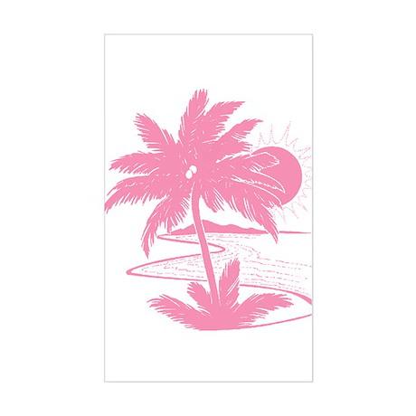 Pink Palm Beach Silhouette Rectangle Sticker