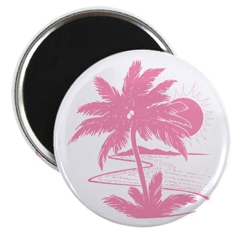 Pink Palm Beach Silhouette Magnet