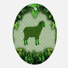 Green Sheep Ornament (Oval)